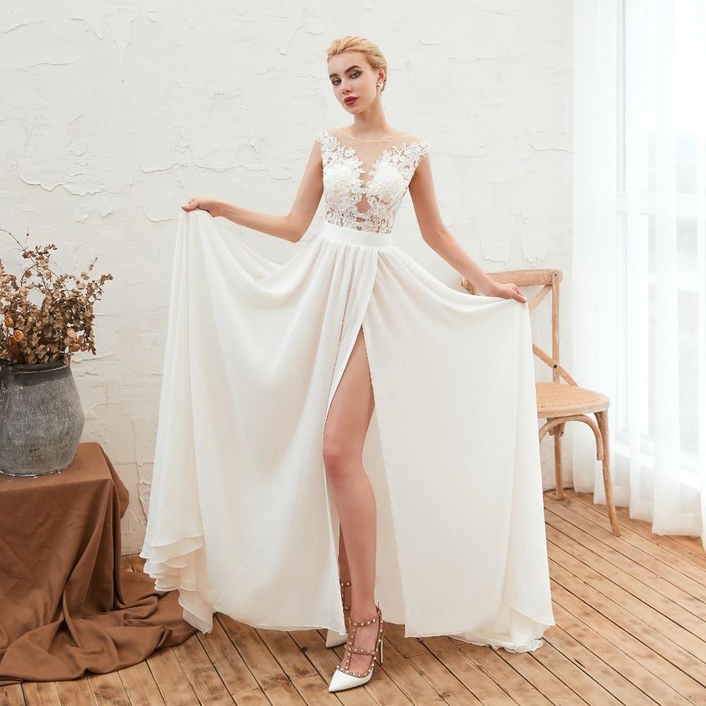 Vivian's Bridal Simple Lace Appliques Summer Beach Wedding Dress 2019 Sexy Illusion Mesh Button Side Slit Chiffon Bridal Dress