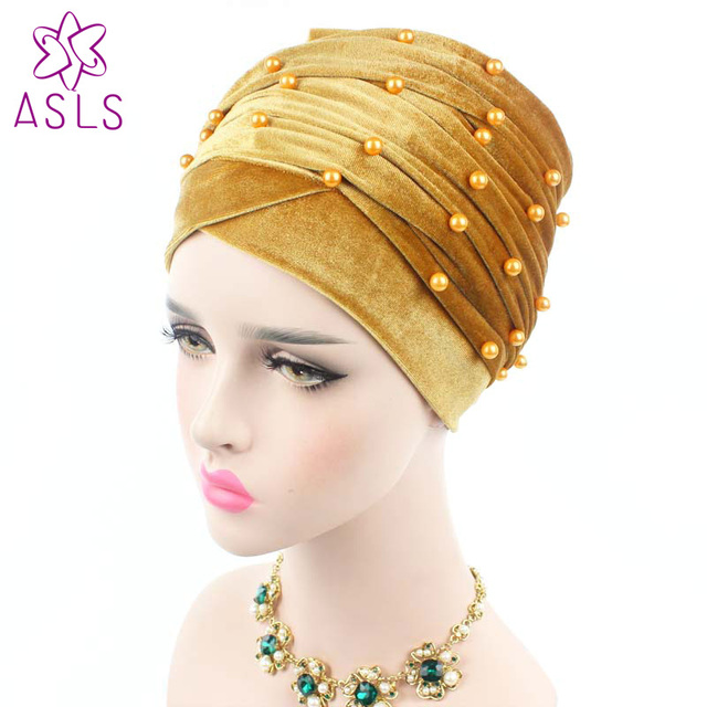 Nigeria New fashion Women Velvet long Turban Headband Beaded Studded  Pearled muslim Turban Head Scarf Hijab Head Wraps b3db800a1de
