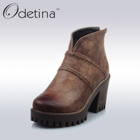 Odetina Retro Brown Women Chunky Heel Ankle Boots Ladies Back Zipper Platform Boots Spring Autumn Large
