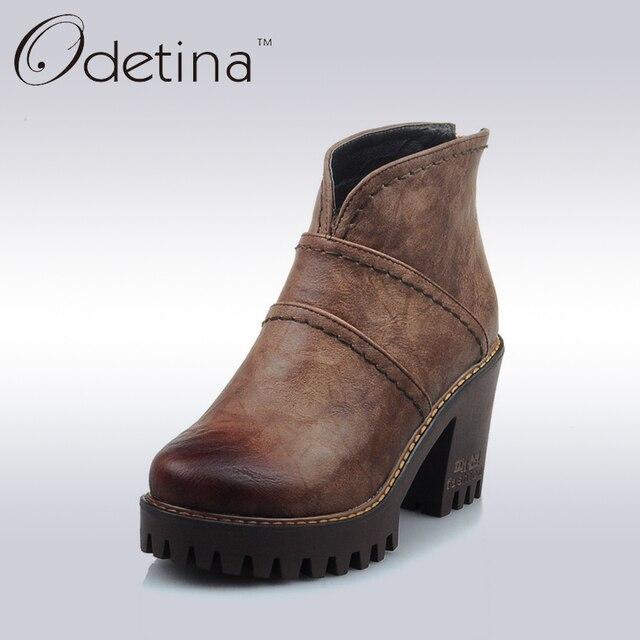 Women's Back Zip Chunky Heel Platform Ankle Boots