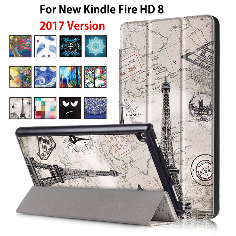 For Amazon 2017 New Kindle Fire HD 8 Case Painted Print PU Leather Stand Smart Sleep Cover Funda For kindle fire hd8 2017 new cartoon painted flower owl for kindle paperwhite 1 2 3 case flip bracket stand pu cover for amazon kindle paperwhite 1 2 3 case