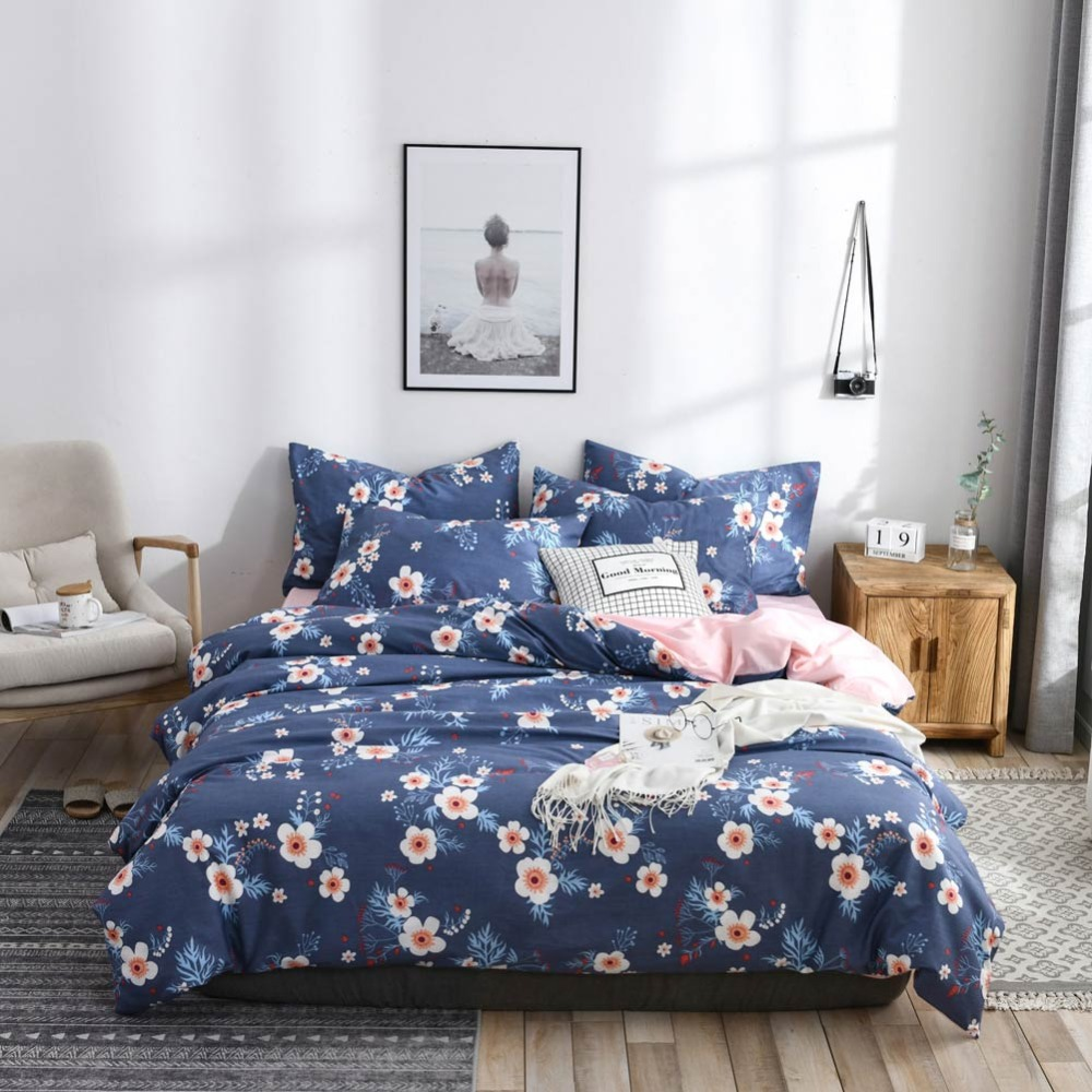 2019 Dark Blue Floral Scandinavian Duvet Cover Set Twin Queen King 2/3pcs Duvet Cover + Pillowcases Cotton Bedlinens