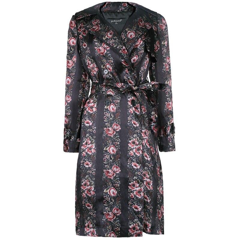 Fleur Soie Vintage Manteau Palais Outwear Pour Turn Automne Tranchée Réel Femmes Imprimer Pkhc866 Kamiying down Le Col 100 Femme qEHCwTF7