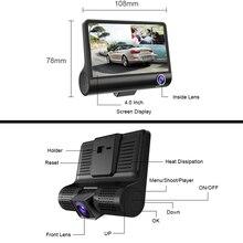 E-ACE Car DVR 3 Cameras Lens 4.0 Inch Dash Camera Dual Lens With Rearview Camera