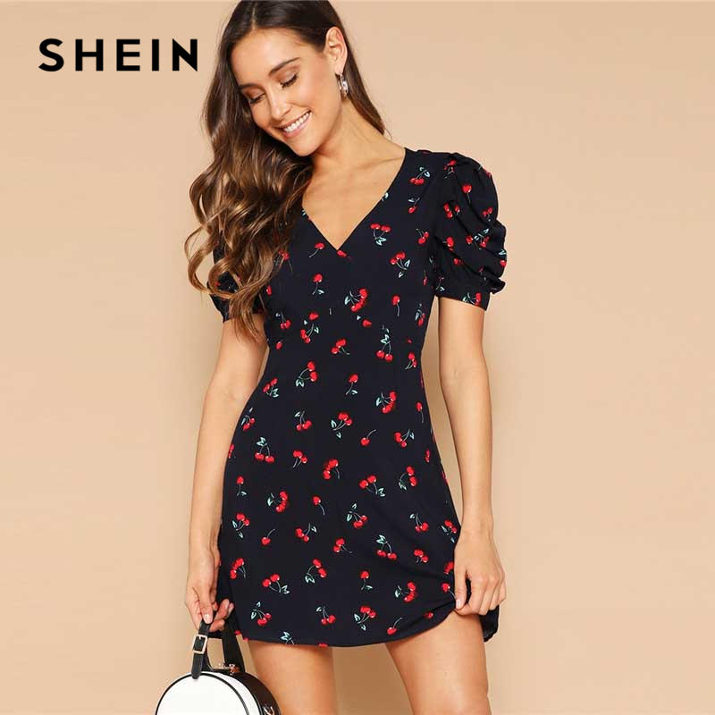 SHEIN Navy Cherry Print Knot Open Back V Neck Sexy Summer Dress Women Short Puff Sleeve Fit And Flare Bohemian Mini Dresses