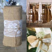 Lasting Surprise15 275cm Natural Jute Burlap Hessian Bowknot Ribbon With Pretty Flower Lace Chair Cover Wedding