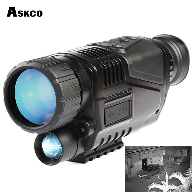 askco powerful 5X40 digital monocular infrared night vision telescope night vision goggles can takes photos video for hunting new arrival handheld 4 5x40 monocular night vision for hunting for shooting black