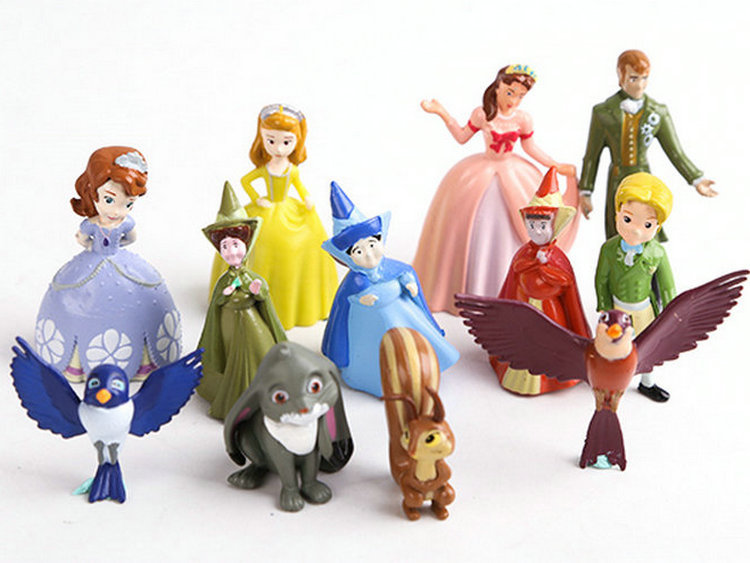12pcs/set New Sofia the first Figures Toys Princess Sofia Action Figure PVC Doll Brithday Gift  toy For Children kids toys free shipping 70cm sofia the first princess sofia doll plush toys 70cm stuffed soft toys dolls for christmas gift