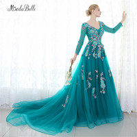 modabelle Robe Soiree 2017 Beads Embroidery Evening Dresses Floral Formal Dress Women Long Sleeves Prom Evening Gowns Turkish