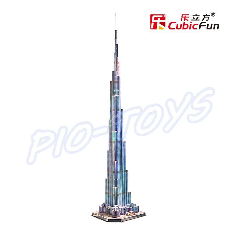 Nyttårsgave Burj Khalifa 3D-puslespillmodellbygging LED-tårn DIY - Puslespill - Bilde 2
