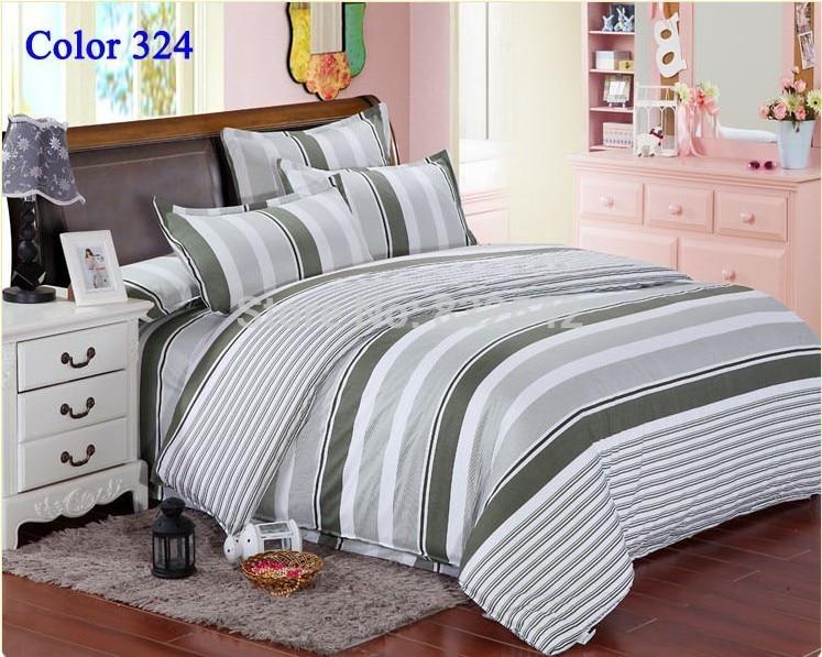 Cheap Men Stripe Bedding Set Duvet Cover Bedclothes Twin Full Queen King Size 4PCS Home Textiles
