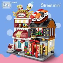Mini klocki LOZ klocki architektura DIY cegły seria miejska Mini ulica Model sklep montaż zabawka dzieciak edukacyjny