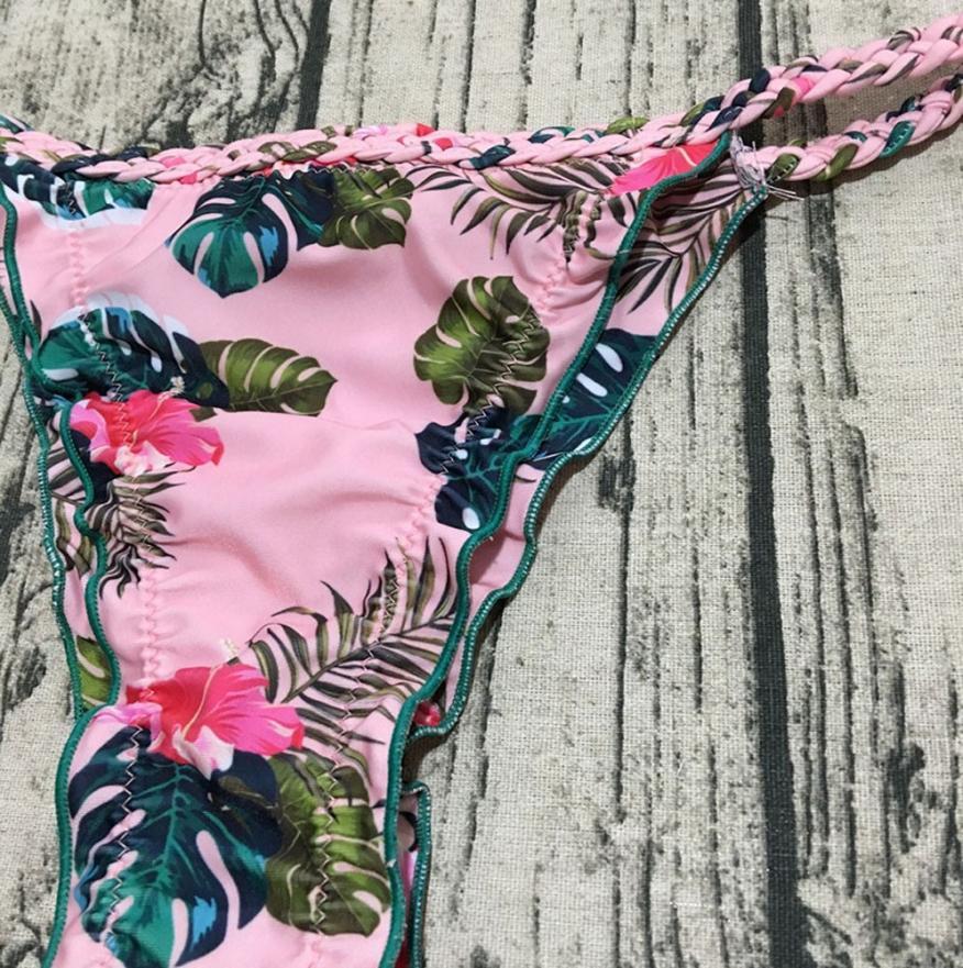 Womail Floral Print Swimwear Women Brazilian Bikinis Set 2018 Sexy Crochet Tankini Push Up Swimsuit May Beach Wear Swiming Suit