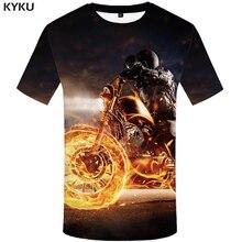 KYKU Brand Character T Shirt Women Skull Tshirt Punk Rock Clothes Flame 3d Print T-shirt Gothic Harajuku Womens Clothing Summer