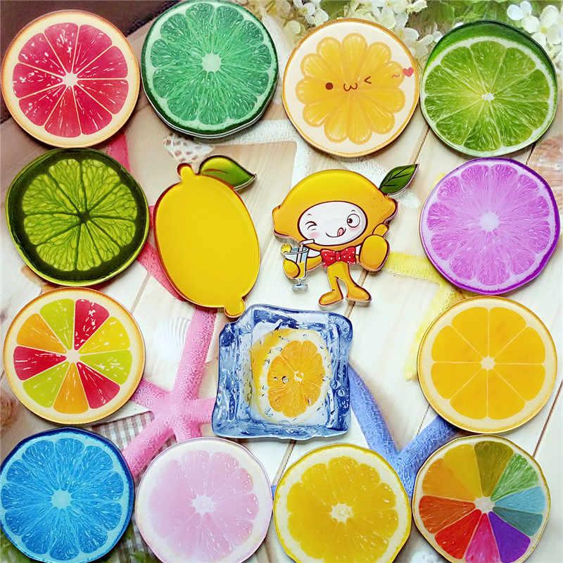 2018 Baru Beberapa Warna Tanaman Buah Lemon Bros Tombol Pins Denim Kerah Pin Lencana Tanaman Lucu Perhiasan Hadiah untuk Anak-anak anak Perempuan