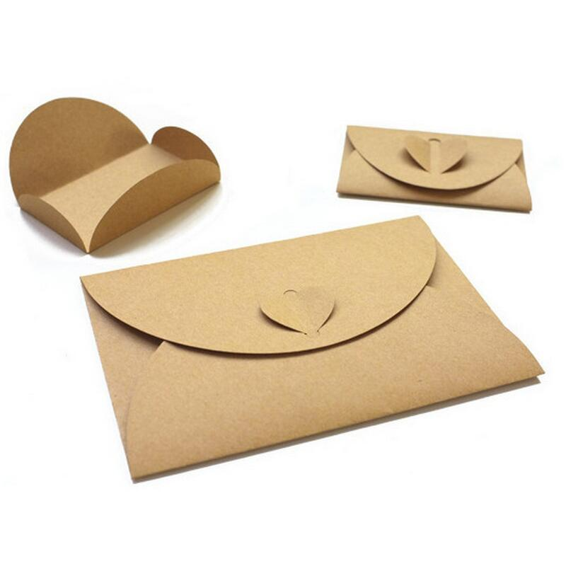 Small/Big 10pcs/bag Retro Love Buckle Envelope DIY Romantic Kraft Envelope Creative Heart Buckle Decoration Love Envelope