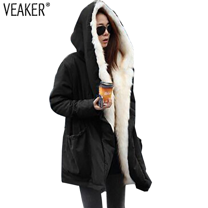 2018 New Women Autumn Fur   Parkas   Coat Female Long Hooded Fur Jacket Coat Winter Slim Fit Warm   Parka   Outerwear S-2XL