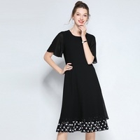 Black chiffon dress Women polka dot patchwork elegant summer Dress vacation beach dress party dress longos vestidos plus size 5X