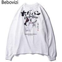 Bebovizi Brand Streetwear Hip Hop Men Clothes Autumn Japanese Style Cat Ukiyo E Print T shirts Cotton Loose Long Sleeved Tshirt