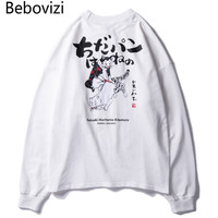 Bebovizi Brand Streetwear Hip Hop Men Clothes Autumn Japanese Style Cat Ukiyo E Print T shirts Cotton Loose Long Sleeved Tshirt