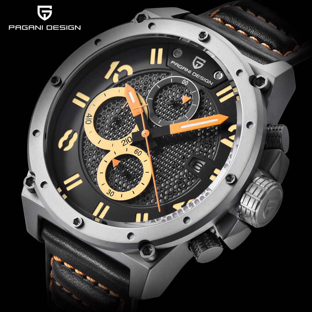 New PAGANI DESIGN Mens Watches Top Brand Luxury Skeleton Leather Sport Men Quartz Watch Waterproof Chronograph Wristwatch Clock pagani design mens watch fashion luxury brand clock male casual sport wristwatch men pirate skull style quartz watch reloj hombe