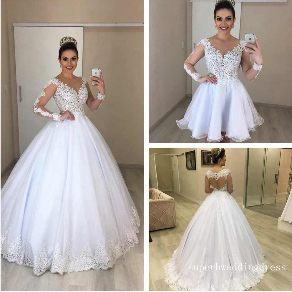 2019 New Style Wedding Dress 2 in 1, Wedding Dresses  With Removable Skirt Bridal Gown Dresses For Bride Superbweddingdress