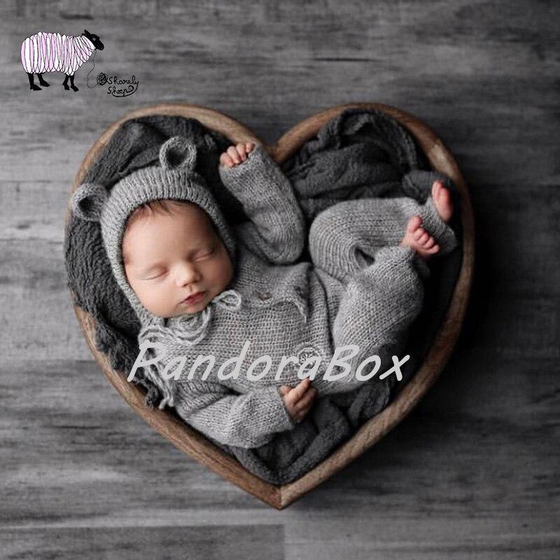 Newborn Baby Photography Love Heart Wood Basket Props Handmade bebe fotografia Accessories Baby Girl Boy Photo