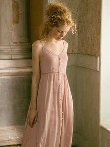 Image 1 - Cotton Dài Váy Ngủ Cho Nữ Thanh Lịch Công Chúa Sâu Hồng Đồ Ngủ Cardigan Rời Đầm