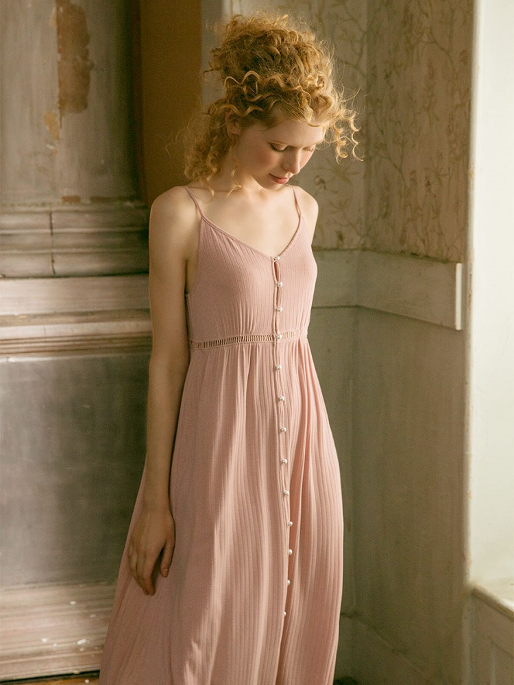 Cotton Long Nightgowns For Women Elegant Princess Deep Pink Sleepwear Cardigan Loose Sexy Night Dress