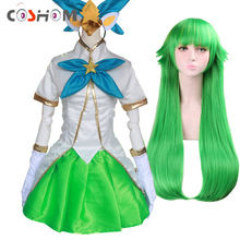 Coshome LOL Lulu Cosplay Suits Costumes Green Long Wigs Dress The Fae Sorceress Tops Skirts Set For Girls And Women
