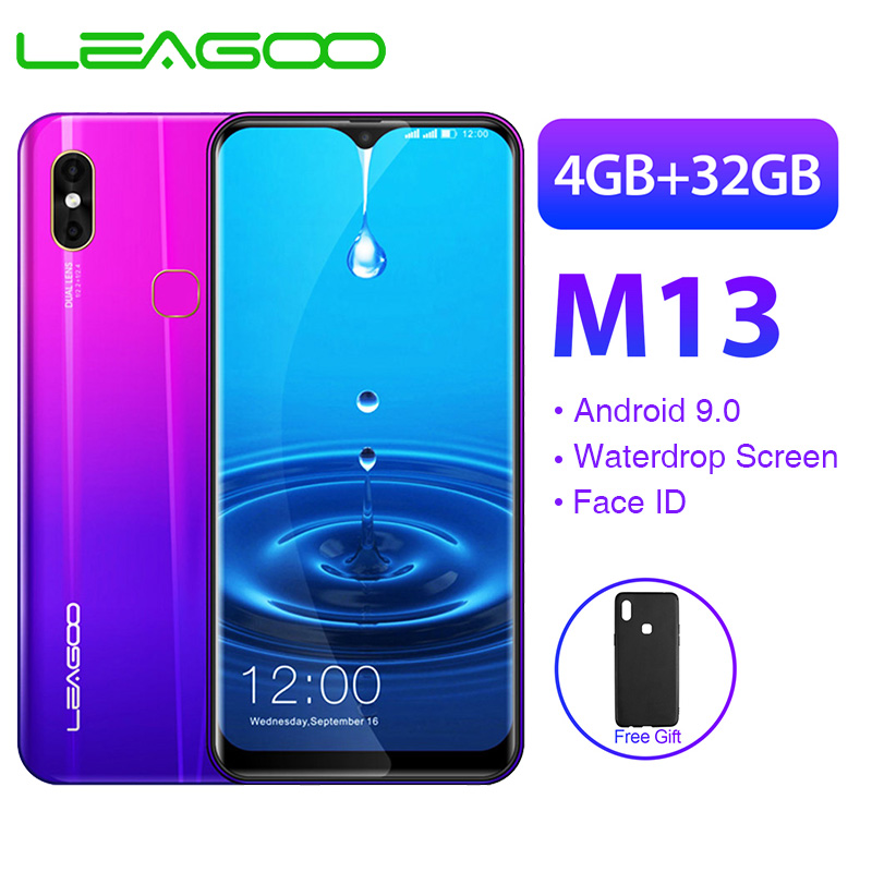 LEAGOO M13 Mobile Phone Android 9.0 6.1'' HD IPS Waterdrop Screen 4GB 32GB MT6761 3000mAh 8MP Dual Camera Face ID 4G Smartphone