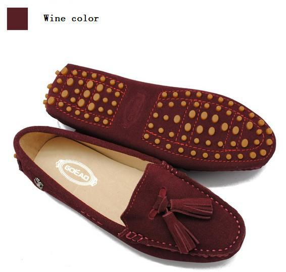 ae6a89584 new color Women genuine leather Peas soft driving tassel slip-on Moccasins  Loafers lady shoes Suede Female flats woman