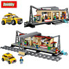 Lepin 02015 City Series Busy City Train Station With Taxi Building Block Bricks Toys Kids Gifts