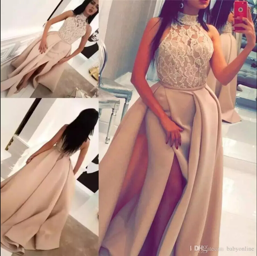 2019 Fashion Long Prom Dresses Champagne Front Split with Lace High Neck Sleeveless Evening Celebrity Gowns