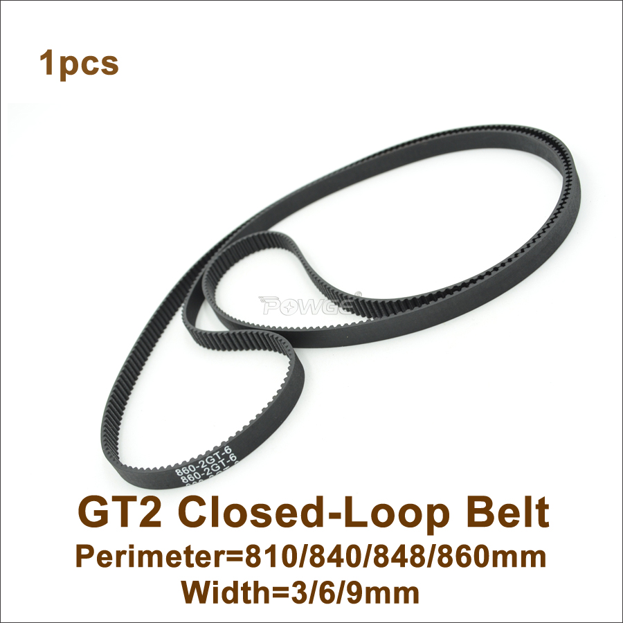 POWGE 800 810 840 848 852 860 GT2 Timing Belt W=<font><b>3</b></font>/6/9mm T=<font><b>400</b></font>/405/420/424/426/430 2GT Closed-Loop Synchronous Belt 852-2GT image