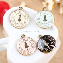 10pcs/lot Charms Alloy Pendants Gold Tone Alices Adventures In Wonderland Design 4 Colors Available DIY Alice Pendant