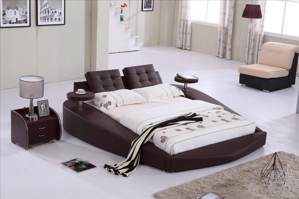 Round Bed King Size Top Grain Leather Headrest Soft Bedroom Furniture