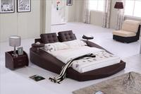 Round Bed, King size bed Top Grain Leather headrest round Soft Bed, Bedroom Furniture Soft Bed with tea table on side B72