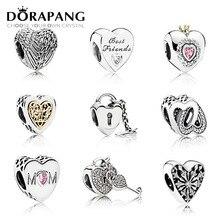 DORAPANG Genuino 100% 925 de Plata de ley en Forma de Corazón Pan Encanto Perlas colocación Charm Bracelet DIY brazalete de Joyería de Plata