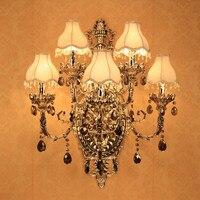 Moda cristal lâmpada de parede Arandela Iluminação 5 luz de velas parede romântico lâmpada de parede lâmpada de Parede de Luxo K9 de cristal de luz com Abajur