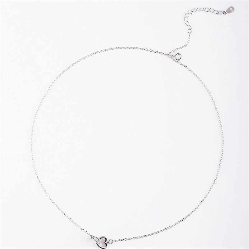 Collar con colgante de plata de ley 925, juego de doble Corazón, joyería de moda para mujer, regalos de vacaciones al por mayor