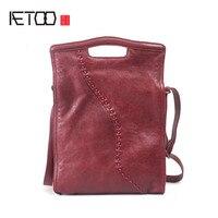 AETOO Leather Vintage National Wind Women's Bag College Wind Shoulder Bag Handmade Cowhide Skimmed Long Sleeve Handbag