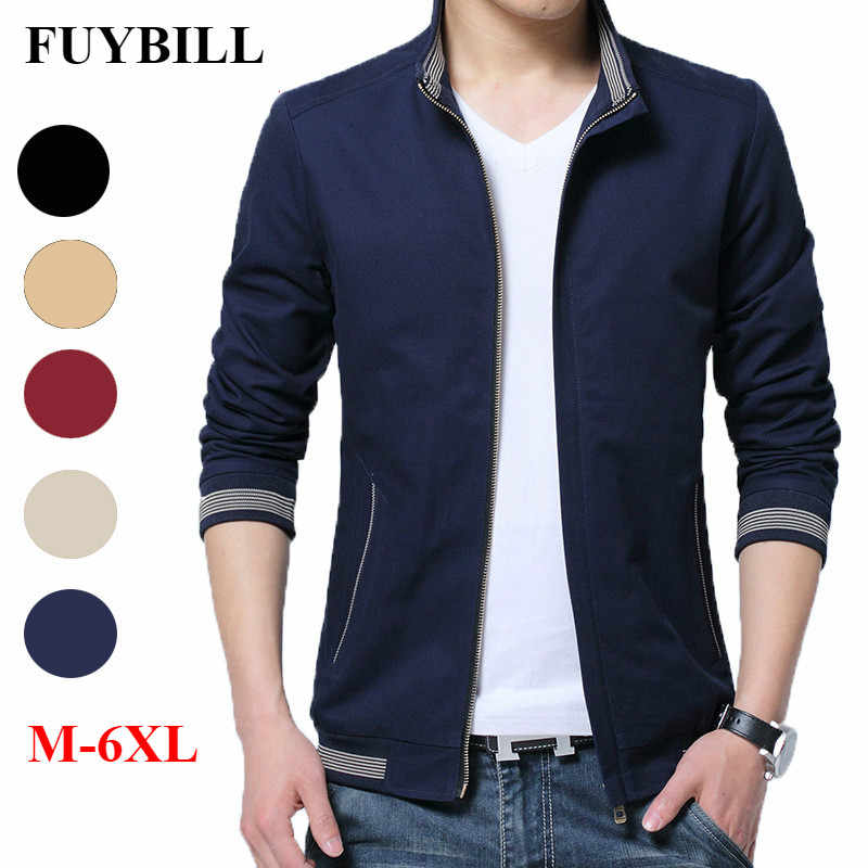 FuyBill 2018 New Style Fashion Men's Big Size Coat Men's Autumn Jacket Cotton Collar Casual Wear Thin Youth Slim Jacket M-6XL