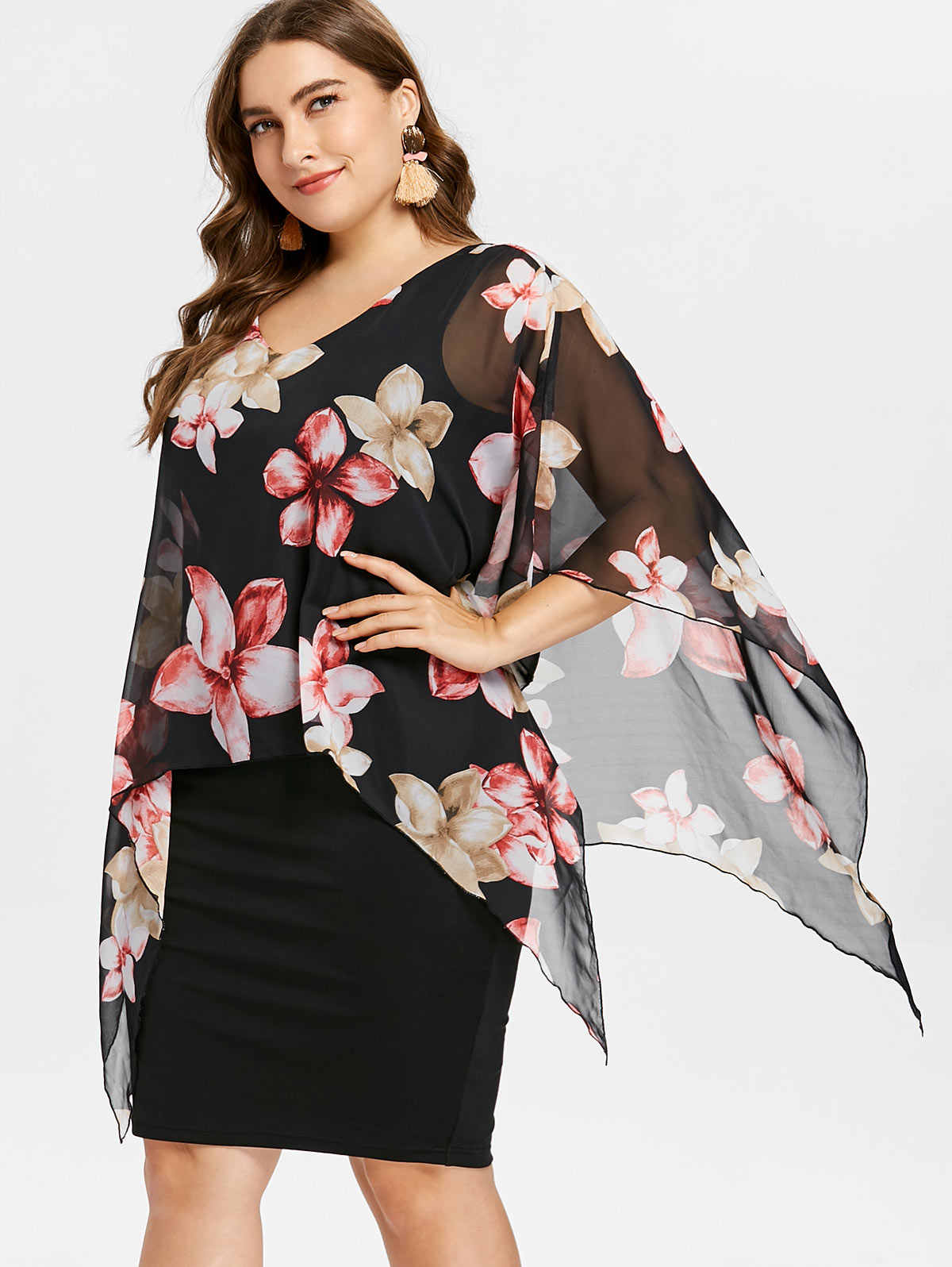 ba0b467367 Wipalo Plus Size Women Dress Plus Size Overlay Capelet Overlay Knee Length  Dress Work Party OL Dresses Vestidos De Fiesta