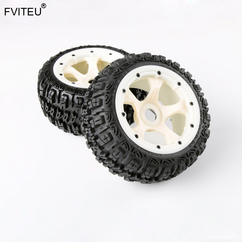 Kits complets de pneus de roue arrière en caoutchouc FVITEU avec moyeu de roue en Nylon pour moteur 1/5 HPI BAJA 5B Rovan King