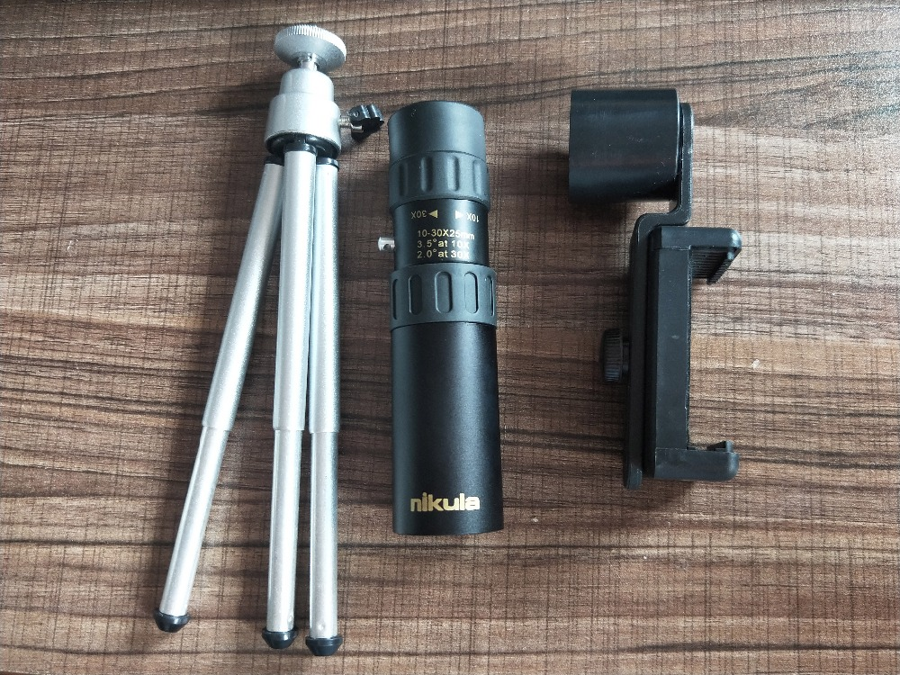 Original binoculars Nikula 10-30x25Zoom Monocular high quality Telescope Pocket Binoculo Hunting Optical Prism Scope with tripod