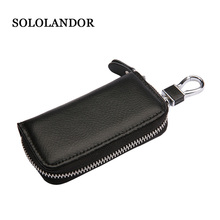 Cow Genuine Leather Key Wallet Men & Women Car Bag Multi Function Case Fashion Holders 6 Rings key case for car