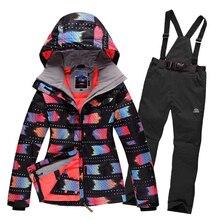 2016winter women ski suit outdoor waterpoof snow snowboard jacket+warm pants windproof waterproof sport clothes jackets women цены