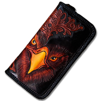 Handmade leather wallet Men's long large capacity zipper bag Leather carved eagle pattern hand bag retro wallet wallet