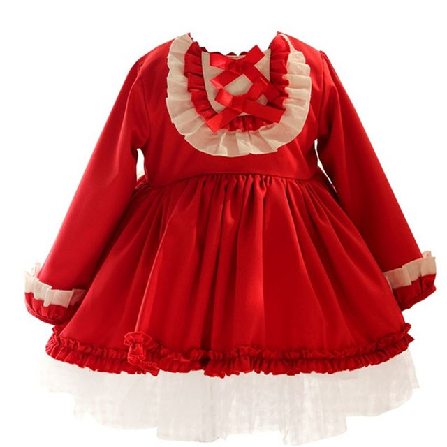 1c41ddc9b Autumn Winter Spanish Kids Dresses for Girls Patchwork Baby Dress With Bow  Hat Long Sleeve Robe Fille Christmas Party Dress Pink